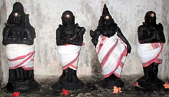 Tirumurai - The four foremost Nayanars with Manikkavacakar - collectively called the நால்வர்: (from left) Sambandar, Appar, Sundarar, Manikkavachakar.