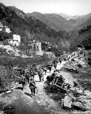 Marching - 370th Infantry Regiment walking toward the mountains at north of Prato - April 1945 (Gothic Line)