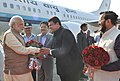 Narendra Modi being received by the Chief Minister of Maharashtra, Shri Devendra Fadnavis on his arrival, at Pune. The Governor of Maharashtra, Shri C. Vidyasagar Rao and the Minister of State for Environment.jpg