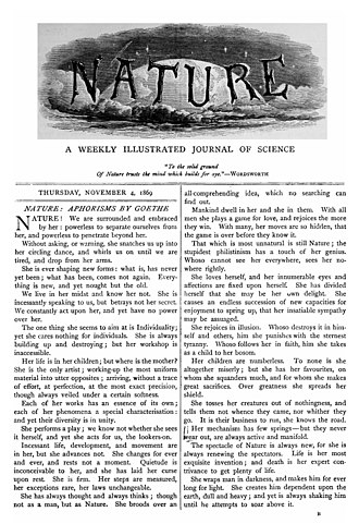 Scientific journal - Cover of the first issue of Nature, 4 November 1869