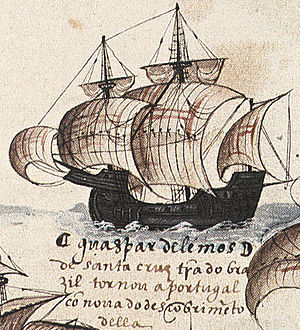 Battle of Diu (1509) - Portuguese nau. With fore and aft castles integrated in the hull and a deeper draught meant to withstand long trans-oceanic voyages, Portuguese carracks were some of the most seaworthy ships of their time.
