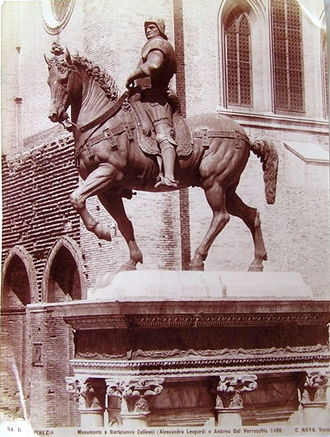 Equestrian statue of Bartolomeo Colleoni - 19th century photo of the statue.