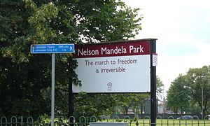 Nelson Mandela Park - One of the entrances to the park, showing a quote from Nelson Mandela. There are a few different versions of this sign in the park.