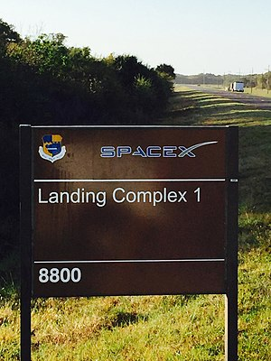 SpaceX South Texas Launch Site - Landing Complex 1 sign at Cape Canaveral in Florida, formerly Launch Complex 13.