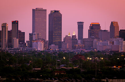 Pictured in the New Orleans skyline is One Shell Square (towards left), New Orleans' tallest building, standing at 697 ft (212 m) as well as Place St. Charles, Plaza Tower, First Bank and Trust Tower, and Energy Centre. New Orleans skyline-02.jpg