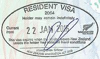 A New Zealand Permanent Resident Visa Stamp Granted On Arrival Under Trans Tasman Travel Arrangement An Australian Document