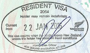 Trans-Tasman Travel Arrangement - A New Zealand permanent resident visa stamp granted on arrival under Trans-Tasman Travel Arrangement on an Australian travel document.