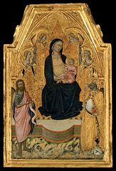 Virgin and Child Enthroned with a Bishop Saint, Saint John the Baptist, and Four Angels