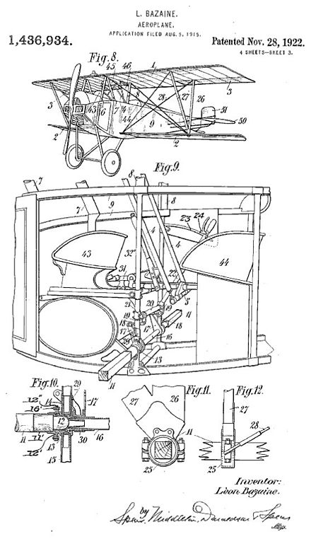 Nieuport 10 lower wing patent which was intended to allow the lower wing to pivot to act as a flap for improved low speed handling. - Nieuport 10