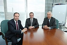 Nigel Dodds MP, Minister for Social Development, Nelson McCausland and Frank Field MP. (7314727504).jpg