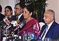 Nirmala Sitharaman and the Minister of Development Strategies and International Trade of Sri Lanka, Mr. Malik Samarawickrama at the bilateral meeting, in Colombo, Sri Lanka.jpg
