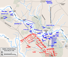 "Actions on May 24: Ledlie attacks Ox Ford, Hancock attempts to advance against the eastern leg of the inverted ""V"""