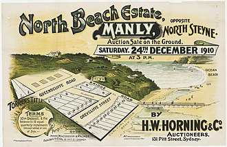 Manly, New South Wales - North Beach Estate, Manly, 1910, H. W. Horning, subdivision plan