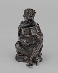 Seated Boy Holding a Jar (an Inkwell ?)