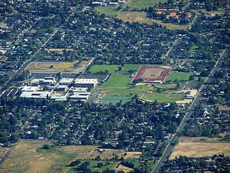 North Medford High School - Aerial image of North Medford High School in July 2010