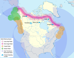 North Warning System - The North Warning System as part of NORAD radar array as envisioned by Canada and the US in 1987.