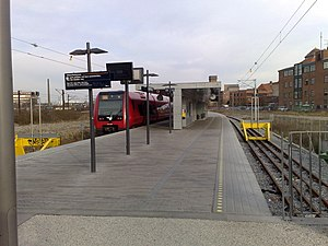 Ny Ellebjerg station - Two ground level tracks, with a centre platform, serve as the terminus of S-train line F to Hellerup