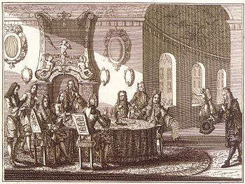 Undertegningen av Nystadt-fredstraktaten, etsning