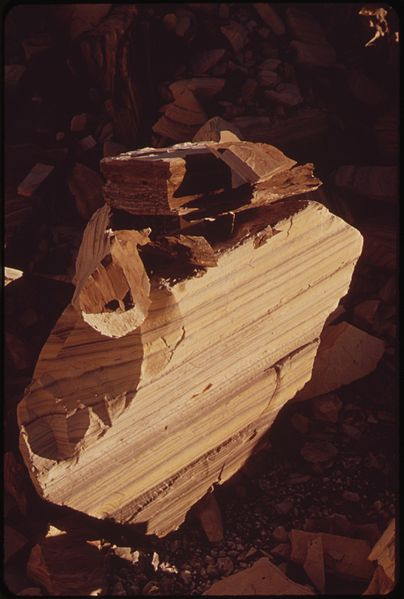File:OIL SHALE. IT IS THE KEROGEN IN THIS ROCK WHICH, WHEN HEATED TO 900 F., YIELDS OIL - NARA - 552543.jpg