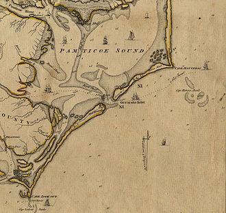 Ocracoke Inlet - Map of Ocracoke and vicinity, ca 1775