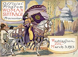 Official program of the Woman Suffrage Parade of 1913. In the actual march, the woman on horseback was Inez Milholland. Official Program Woman Suffrage Procession - March 3, 1913.jpg