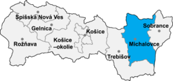 Location of Mihalovces apriņķis