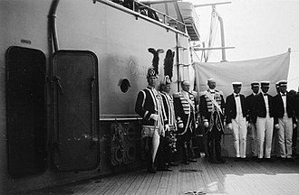 HSwMS Oscar II - Officers on deck while visiting the Tsar of Russia in 1912