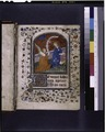 Opening of main text. Miniature of Annunciation. Border design, 3-line and 1-line initials, placemarker (NYPL b12455533-425864).tif