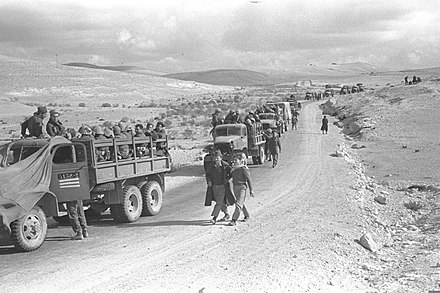 An Israeli convoy in the Negev during Operation Horev Operation Horev.jpg