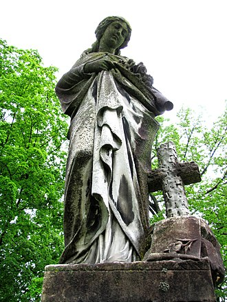 Old Gray Cemetery - Marble sculpture atop Ora Brewster monument