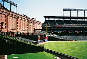 Oriole Park at Camden Yards - Right field and the former B&O Warehouse