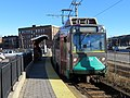 Outbound train at Harvard Avenue station, December 2018.JPG