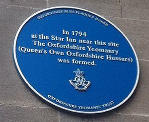 Queen's Own Oxfordshire Hussars - Blue plaque commemorating the founding of the Oxfordshire Yeomanry