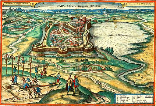 Pápa engraving after Hufnagel 1617 colorized