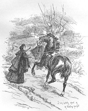 Hellhound - The title character in Charlotte Brontë's 1847 novel Jane Eyre is reminded of a Gytrash when she first sees Mr Rochester's black horse Mesrour and his black and white dog Pilot. Illustration by F. H. Townsend for the second edition of the book.
