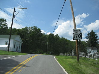 Pennsylvania Route 170 - Route 170 heading northbound through the village of Aldenville