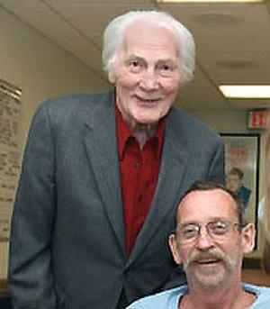 Jack Palance - Palance (left) visiting a VA Hospital in 2005