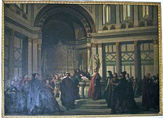 Dino Compagni - Compagni advocates for peace between Guelphs and Ghibellines in a sermon in church of San Giovanni by Antonio Cuccinelli.