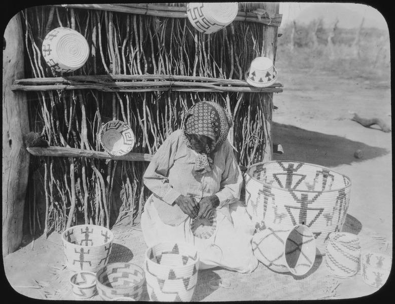 File:Papago basketmaker at work, Arizona, 1916 - NARA - 532042.tif