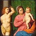 Paris Bordone - Madonna con Bambino e san Sebastiano - Auckland.jpg