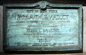 Park Avenue Viaduct - Plaque on the viaduct