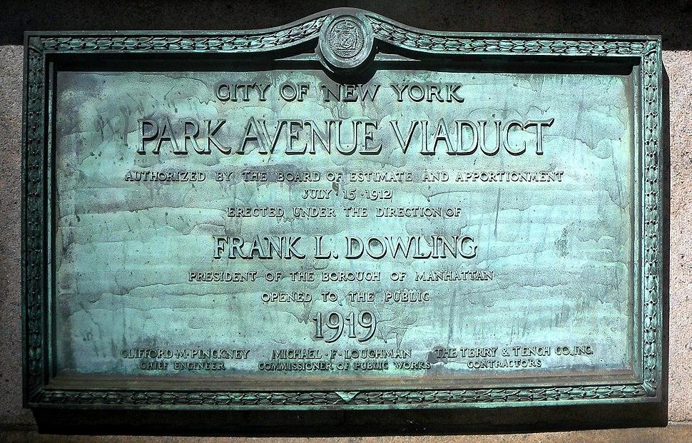 Park Avenue Viaduct plaque 1919 jeh