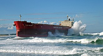 Australian east coast low - Pasha Bulker stranded by an east coast cyclone on Nobbys Beach, Newcastle June 2007