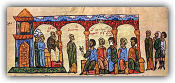 Photios I on the throne, from the Chronicle of Johannes Skylitzes