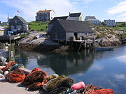 A Maritime scene at Peggys Cove, Nova Scotia, which has long been sustained by the Atlantic fishery.