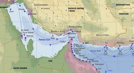 Purple - Portuguese in Persian Gulf in the 16th and 17th century. Main cities, ports and routes.