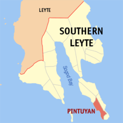 Map of Southern Leyte with Pintuyan highlighted