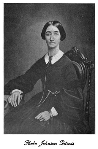 Reformed Church in America - Phebe Johnson Ditmis (January 4, 1824 – December 27, 1866) was the wife of Reformed Church of Queens pastor George Onderdonk Ditmis (July 22, 1818 – February 1, 1896).