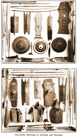 "Filipino martial arts - ""Philippine Weapons of Offense and Defense"" - plate 1, Krieger Collection, United States National Museum"