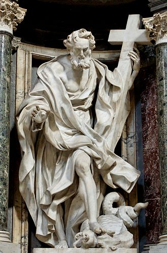 Philip the Apostle - Statue of Philip in the Archbasilica of St. John Lateran by Giuseppe Mazzuoli
